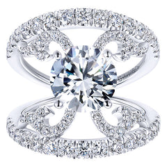 Flaired Diamond Engagement Ring