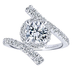 Bypass Diamond Engagement Ring with Halo