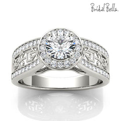 Halo Engagement Ring with Scrollwork