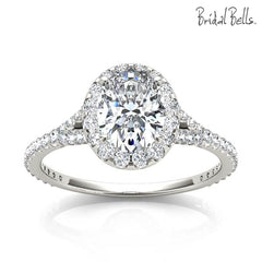 Oval Halo Engagement Ring with Split Shank
