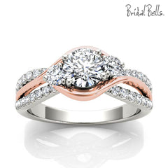 Rose and White Gold Bypass Diamond Engagement Ring