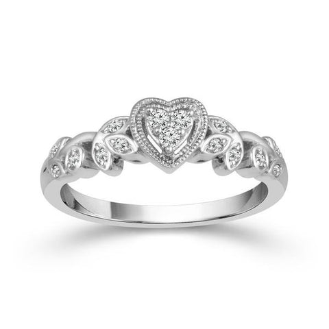 Valentine's Day Gift Ideas - Diamond Heart Shaped Promise Ring with Floral Design