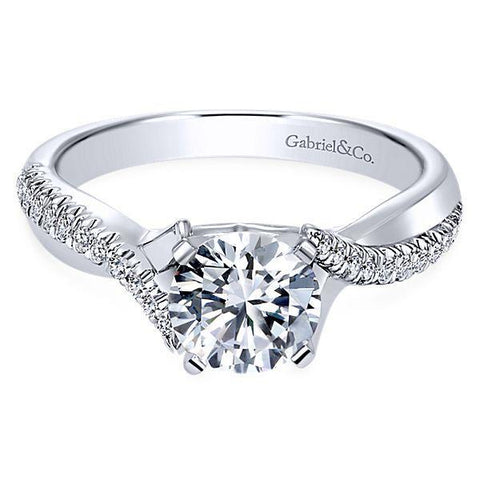 All About Carats White Gold Crossover Diamond Engagement Ring