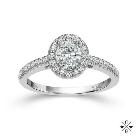 Oval-Shaped Diamond Engagement Ring with Halo