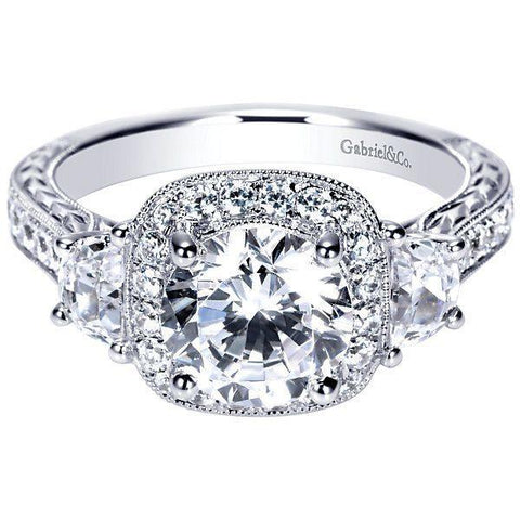 All About Carats Vintage Halo Diamond Engagement Ring