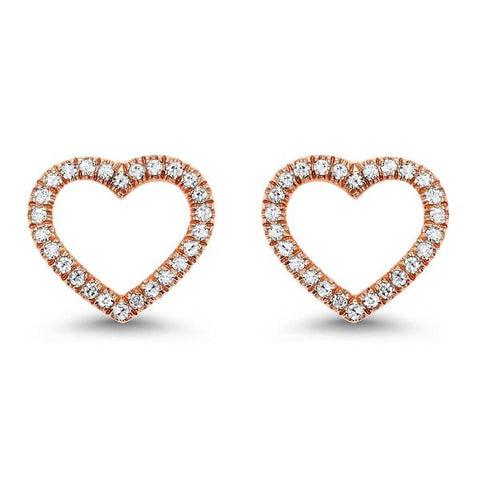 Valentine's Day Gift Ideas - Rose Gold Diamond Heart Shaped Stud Earrings
