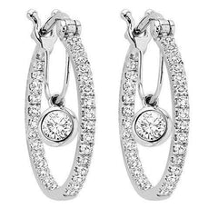 All About Earrings Hoops with Dangle Diamonds