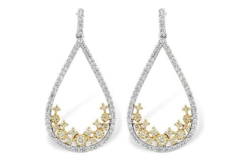 Allison Kaufman White and Yellow Gold Diamond Drop Earrings