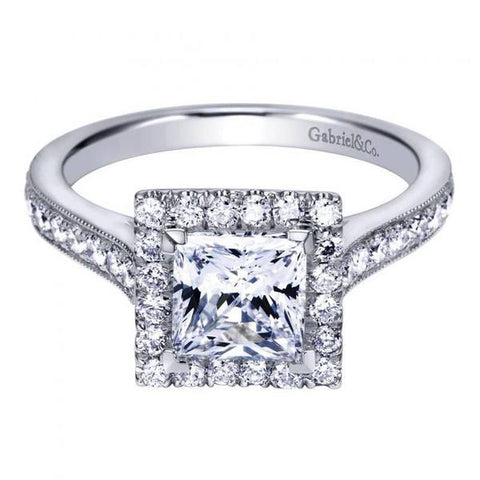 All About Carats Princess Cut Halo Diamond Engagement Ring