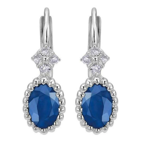 White Gold Sapphire and Diamond Drop Earrings
