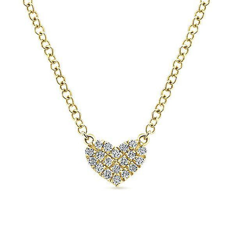 Valentine's Day Gift Ideas - Diamond Pave Gold Heart Necklace