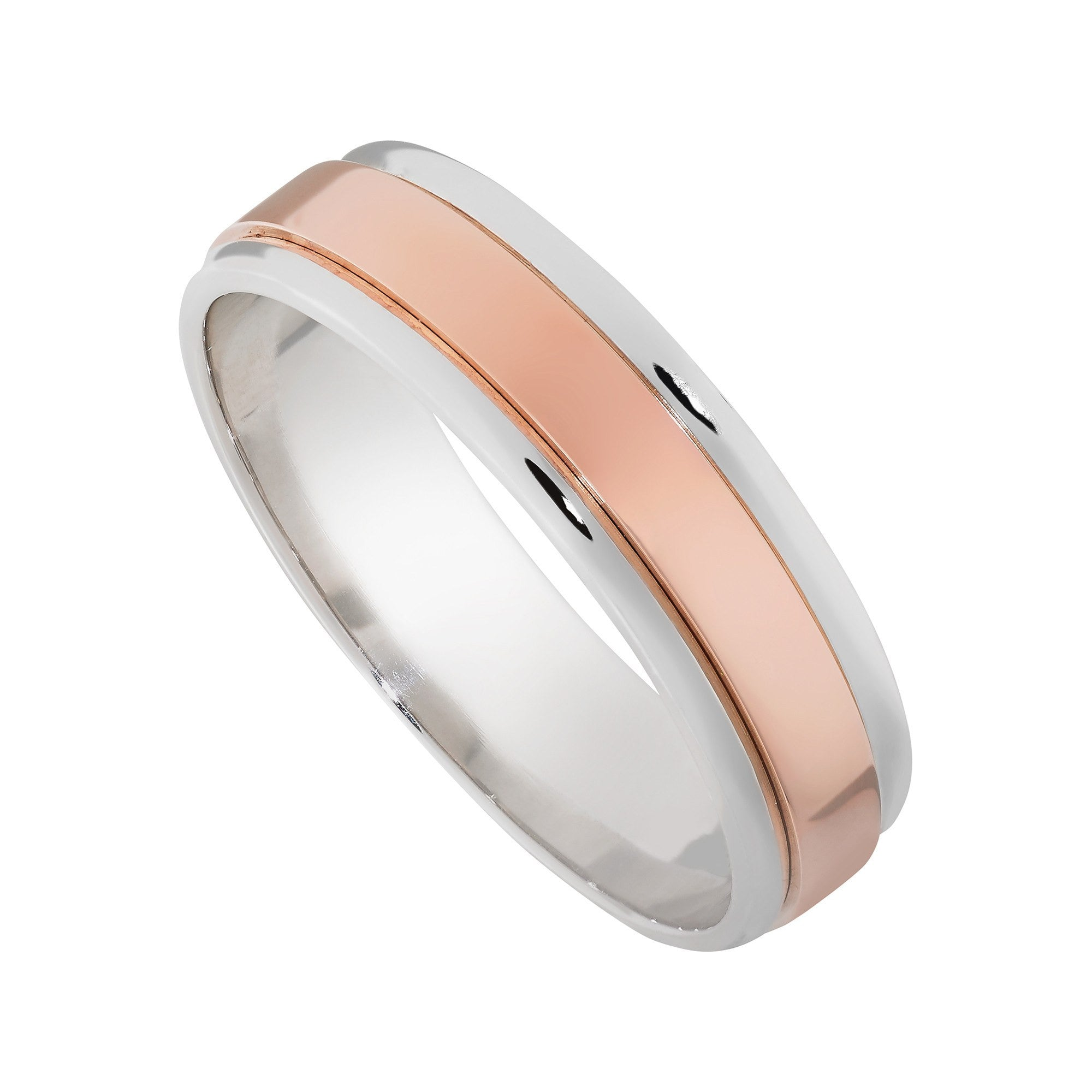 14K Rose and White Gold 6mm Mens Wedding Band Mullen Jewelers