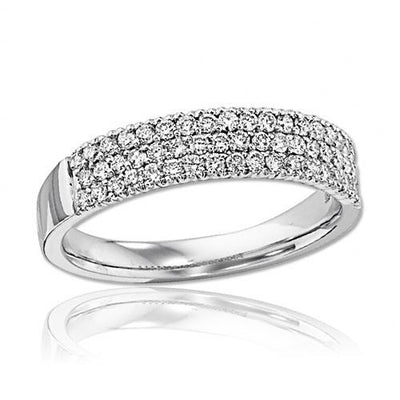 14K White Gold 1/2cttw 3-Row Pave Diamond Band