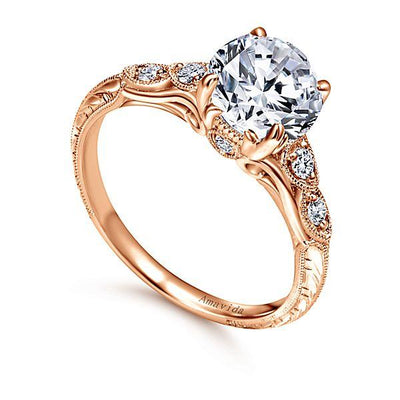 18K Rose Gold Amavida Vintage Style Diamond Engagement Ring
