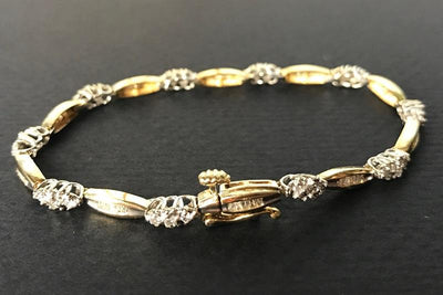 BRACELETS - 10k Yellow Gold Estate 1cttw Round And Baguette Diamond Tennis Bracelet