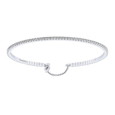 BRACELETS - 14K White Gold 1cttw Pave Cuff Bangle Bracelet