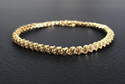 BRACELETS - 14k Yellow Gold Estate 1cttw S Style Diamond Tennis Bracelet