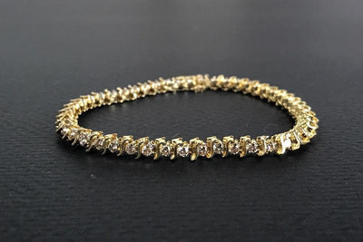 BRACELETS - 14k Yellow Gold Estate 2cttw S Style Diamond Tennis Bracelet