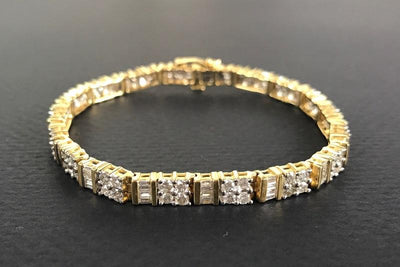 BRACELETS - 14k Yellow Gold Estate 5cttw Baguette And Round Bar Set Diamond Tennis Bracelet