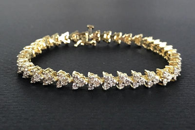 BRACELETS - 14k Yellow Gold Estate 5cttw Round Trillion Set Diamond Tennis Bracelet