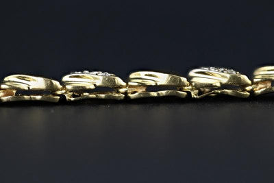 BRACELETS - 14k Yellow Gold Estate Link Bracelet With .33cttw Round Diamond Accents
