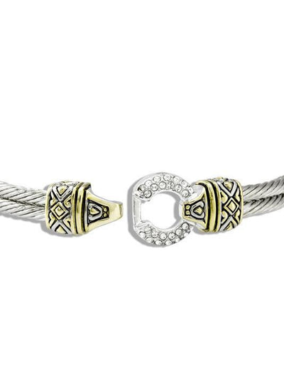 BRACELETS - Antiqua 7 Inch Crystal Pave Two Tone Bangle Bracelet