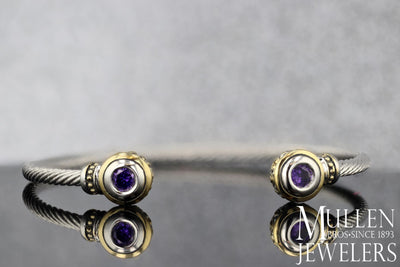 Beijos Skinny Silver Cuff Bracelet with Amethyst Colored Endcaps