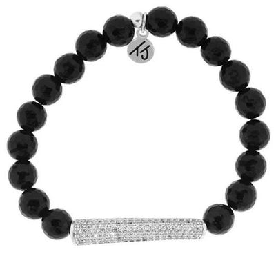 Black Onyx Stone Bracelet with Silver Crystal Accent Bar - Elegance Collection