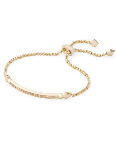 Kendra Scott Ott Yellow Gold Adjustable Bolo Bracelet with CZ Bar