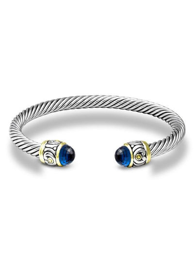 BRACELETS - Nouveau Indigo Small Silver Plate Rope Twist Bangle Bracelet