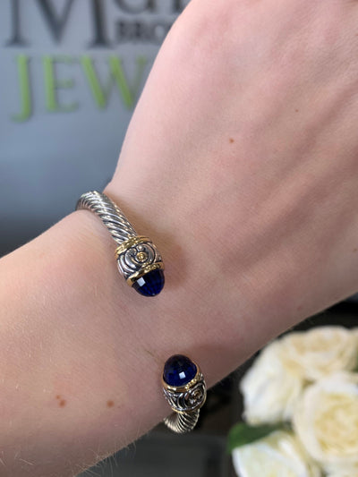 Nouveau Indigo Small Silver Plate Rope Twist Bangle Bracelet