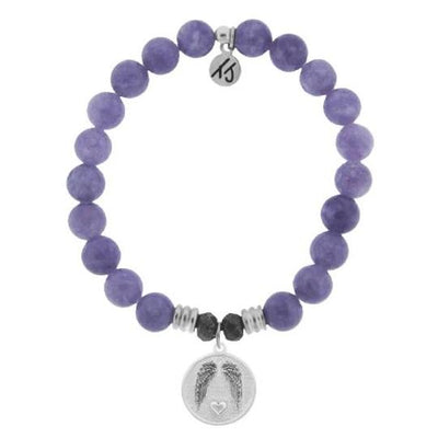 Purple Jade Stone Bracelet with Guardian Sterling Silver Charm