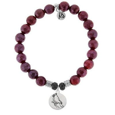 Red Ruby Agate Stone Bracelet with Cardinal Sterling Silver Charm