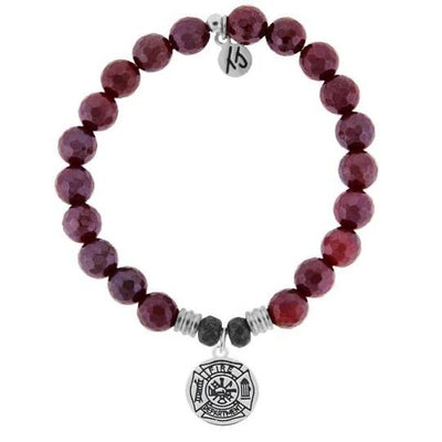 Red Ruby Agate Stone Bracelet with Firefighter Thin Red Line and St. Florian Cross Sterling Silver Charm