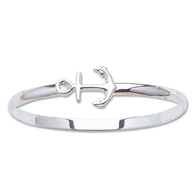 BRACELETS - Sterling Silver Anchor Bangle Bracelet
