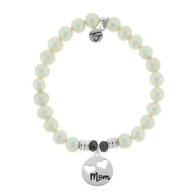 White Pearl Bracelet with Mom Hearts Sterling Silver Charm
