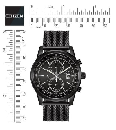 Citizen Eco-Drive Men's Black Mesh Chronograph Watch