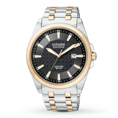 Citizen Eco-Drive Men's Corso Two-Tone Textured Black Dial Watch