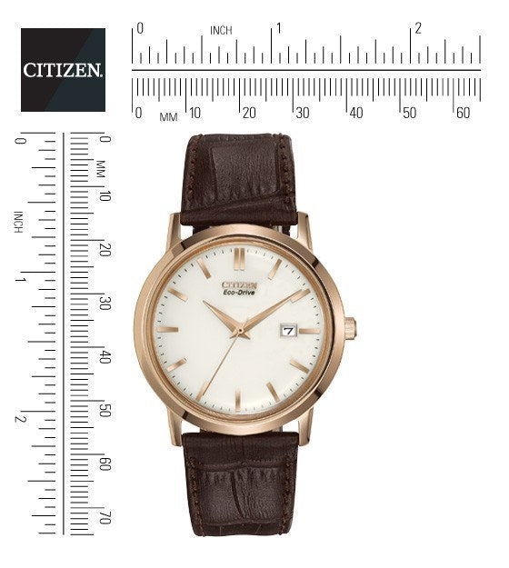 Citizen Eco Drive Men S Rose Gold Tone Watch With Brown Leather Strap