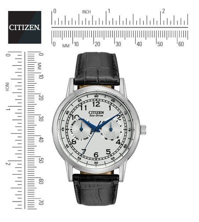 Citizen Eco-Drive Men's Strap Watch With White Dial And Blue Hands