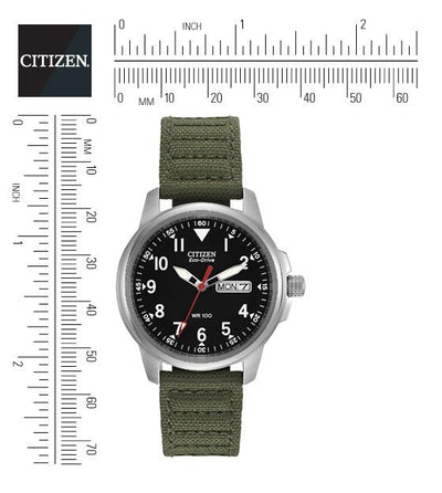 Citizen Eco-Drive Men's Watch With Green Canvas Strap