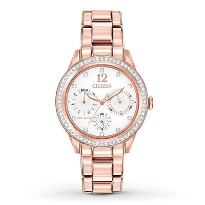 Citizen Eco-Drive Women's Silhouette Crystal Pink Gold-Tone Watch