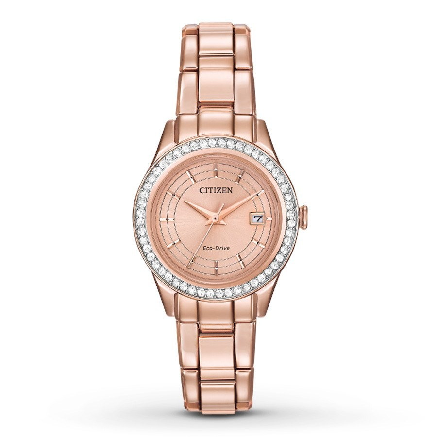 5082bf8b69 Citizen Eco-Drive Women's Silhouette Crystal Pink Gold Tone Watch ...