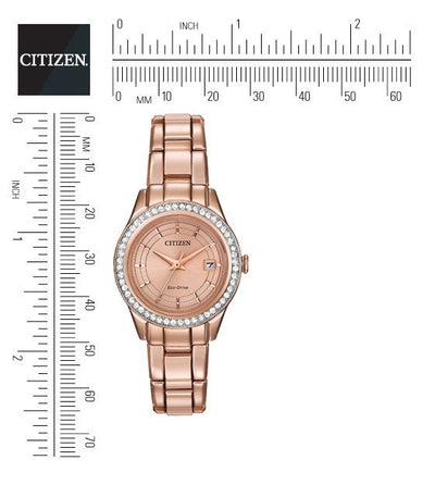 Citizen Eco-Drive Women's Silhouette Crystal Pink Gold Tone Watch