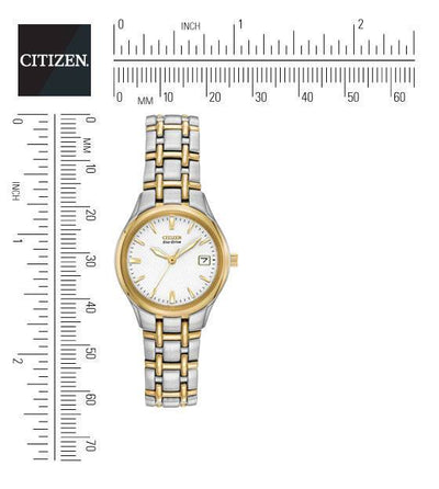 Citizen Eco-Drive Women's Silhouette Two-Tone Watch With Textured White Dia