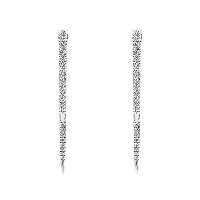 DESIGNERS - 14K White Gold 1/2cttw Diamond Double Drop Hoop Earrings