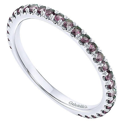 DESIGNERS - 14K White Gold Created Alexandrite Stackable Birthstone Ring