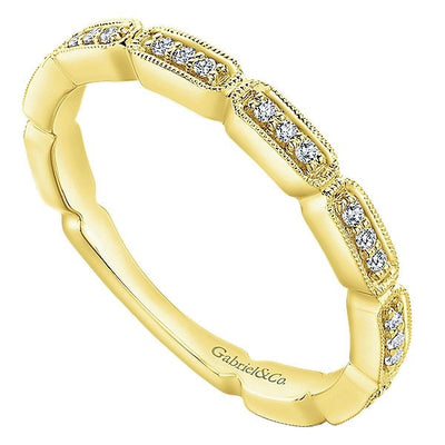 DESIGNERS - 14K Yellow Gold Diamond Stackable Ring With Rectangular Bead Set Diamond Stations
