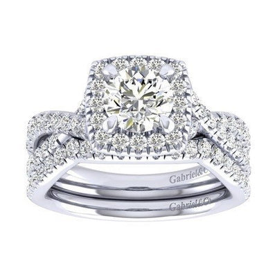 DIAMOND ENGAGEMENT RINGS - 1.28cttw Cushion Shaped Halo Diamond Engagement Ring With Twisted Shank
