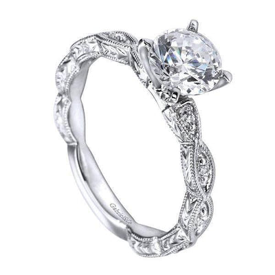DIAMOND ENGAGEMENT RINGS - 1/2cttw Victorian Style Diamond Engagement Ring With Marquise Shaped Stations